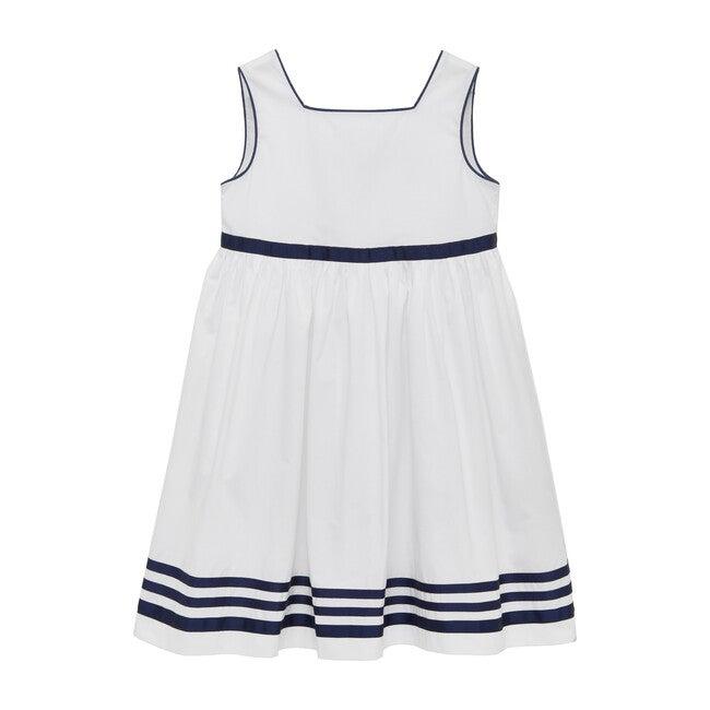 Natasha Dress, White & Navy