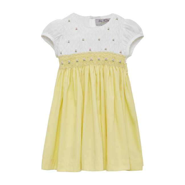 Toddler Rose Hand Smocked Dress, Lemon