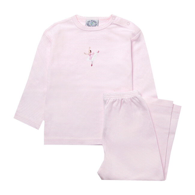 Margot Jersey Pajamas, White & Pink Stripe
