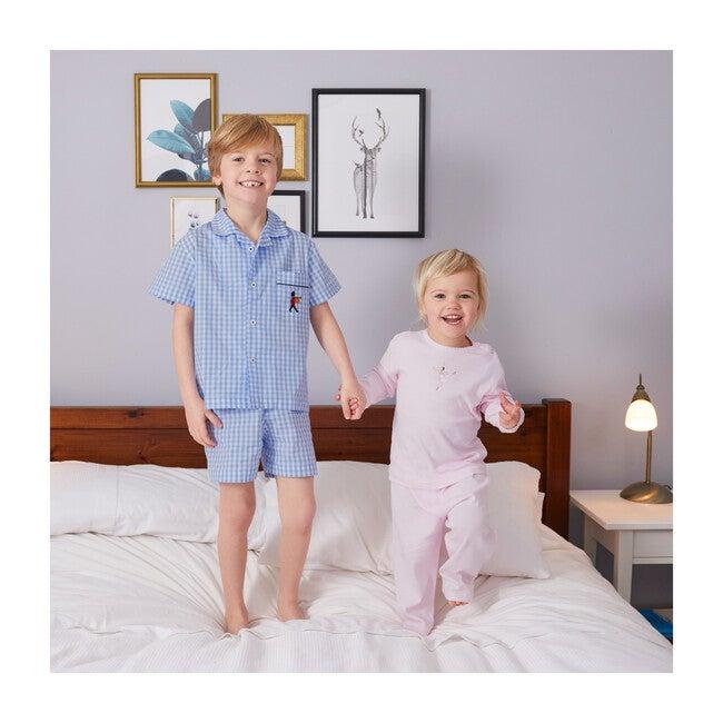 Margot Jersey Pajamas, White & Pink Stripe