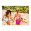 Isla Reversible Two Piece, Dragon Fruit + Pink Plumerias - Two Pieces - 3