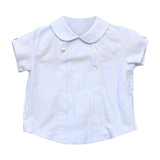 Peter Pan Collared Shirt Striped, White & Blue