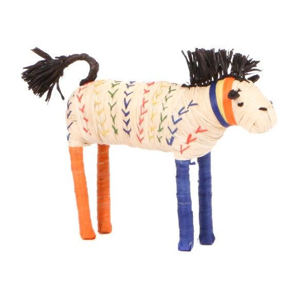 Raffia Horse Shelf Decor, Primary Colors