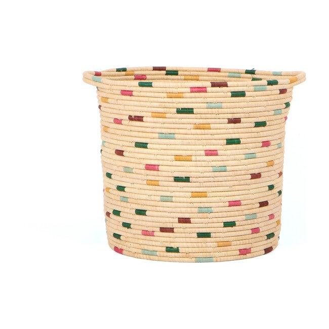 Raffia Floor Storage Basket, Vivid Dashed