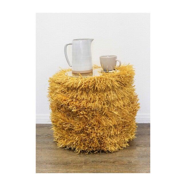 Fringed Woven Stool, Mustard