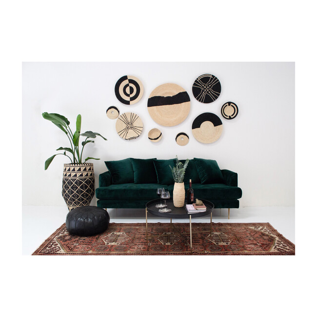 "28"" XL Striped Wall Plate Decor, Natural/Black"