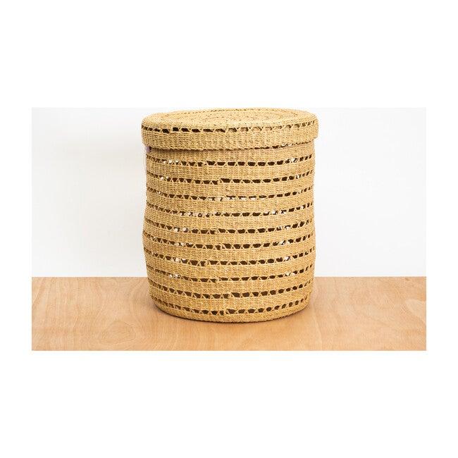 XL Lidded Lace-Grass Box Hamper, Natural