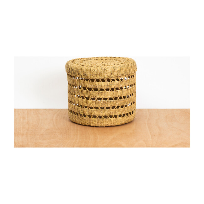 Large Lidded Lace Grass Box, Natural