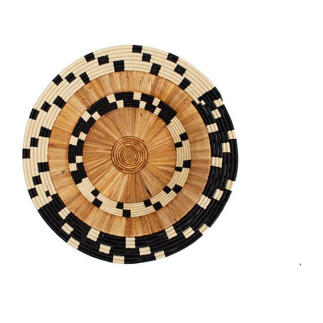 "31"" Oversized Checkered Banana Bark Round Basket, Black/Natural"
