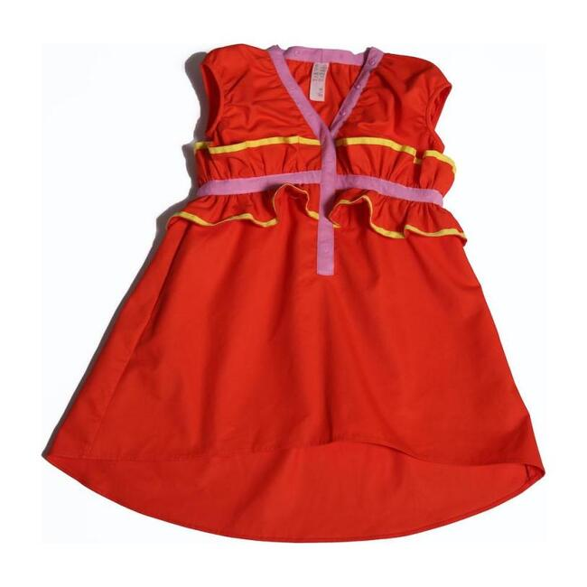 Ruffled Polonaise Frock, Red