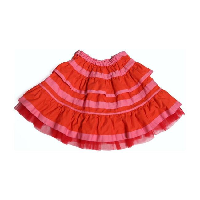 Tiered Ribbon Pollera Skirt, Red