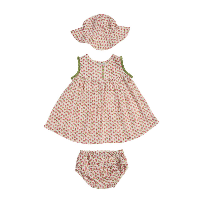 *Exclusive* Mer Dress, Hat and Bloomer Set, Pink & Green
