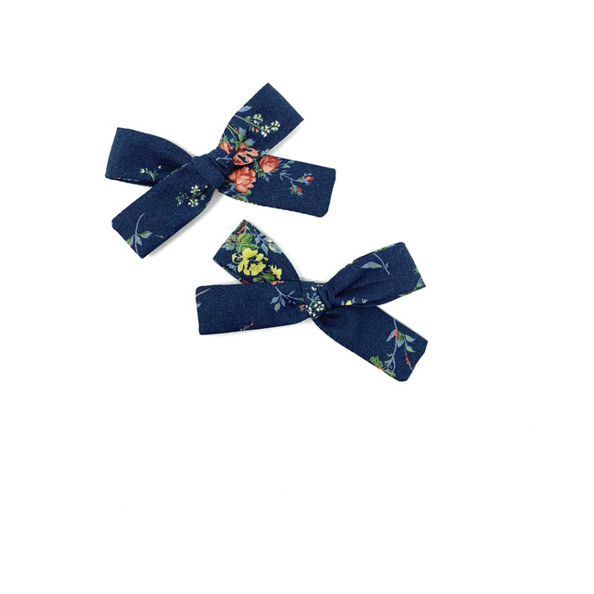 Skinny Ribbon Pigtail Bow Clips, Liberty Navy Floral
