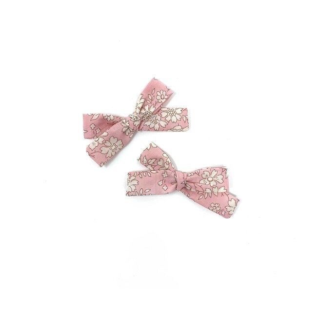 Skinny Ribbon Pigtail Bow Clips, Liberty Baby Pink Floral