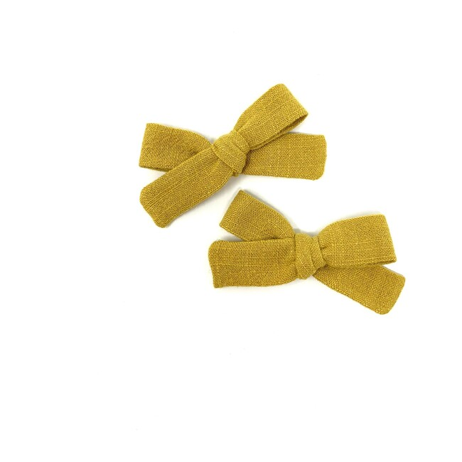 Skinny Ribbon Pigtail Bow Clips, Mustard