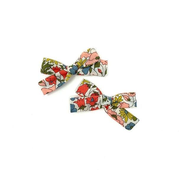 Skinny Ribbon Pigtail Bow Clips, Liberty Mixed Floral