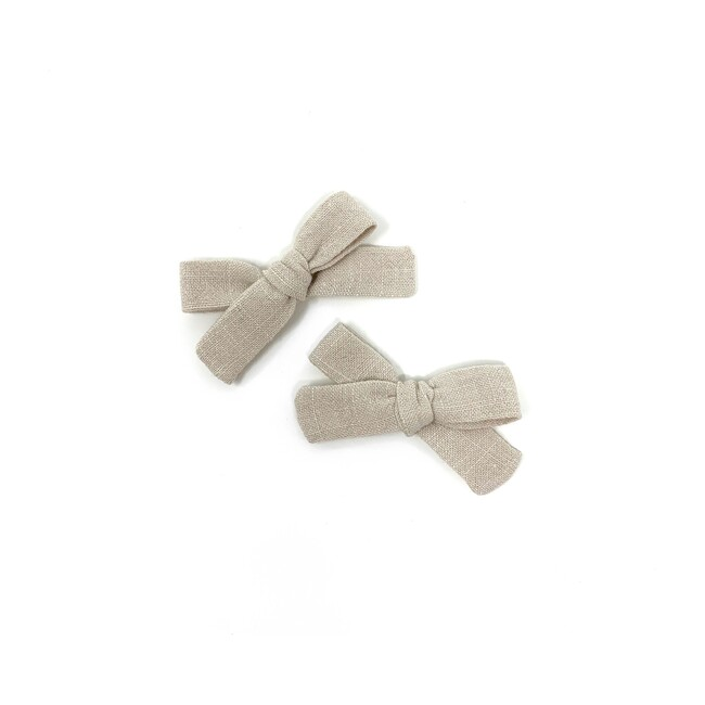 Skinny Ribbon Pigtail Bow Clips, Oyster