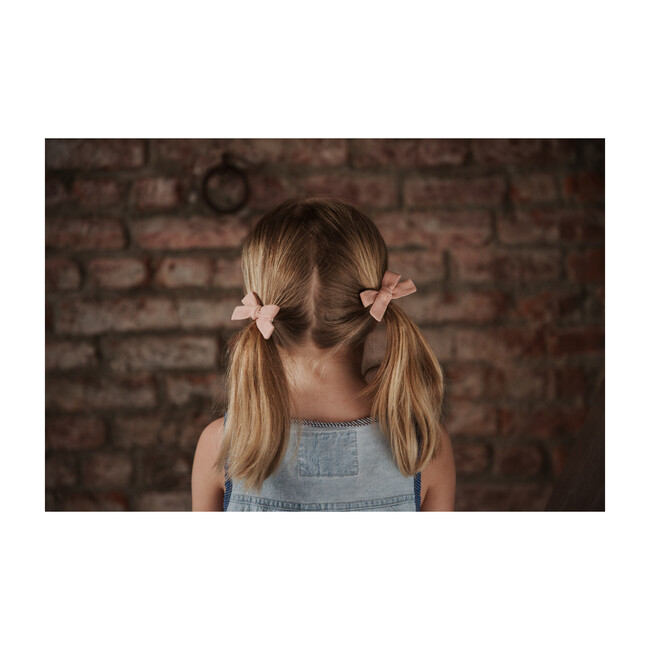 Skinny Ribbon Pigtail Bow Clips, Rose