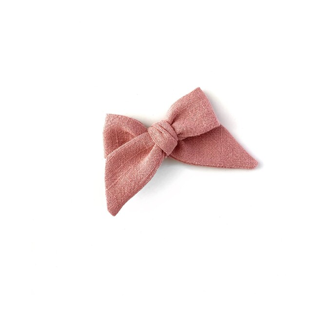 Baby Tied Bow Clip, Rose