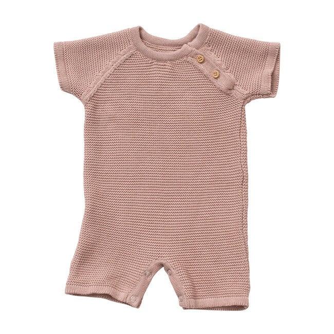 Organic Cotton Classic Knit Short Baby Romper, Blush