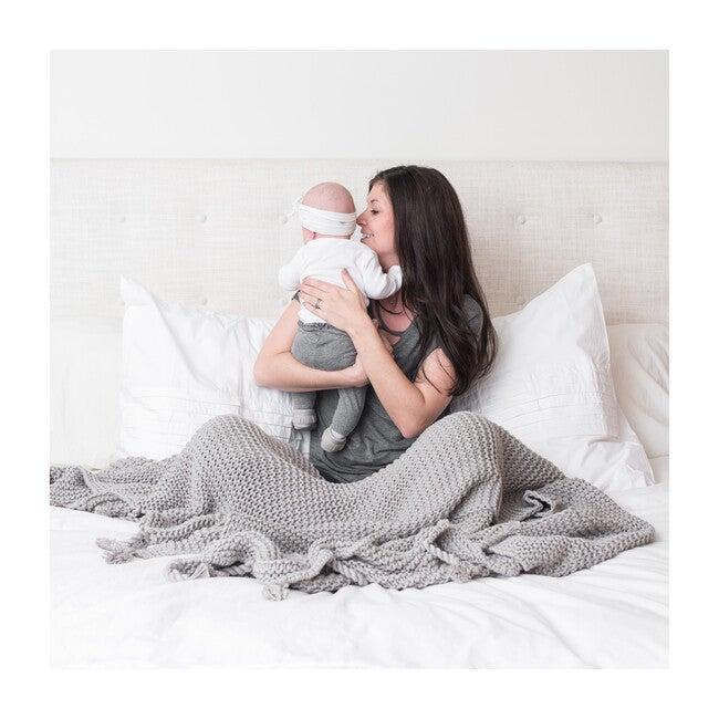 Organic Cotton Comfy Knit Throw, Grey