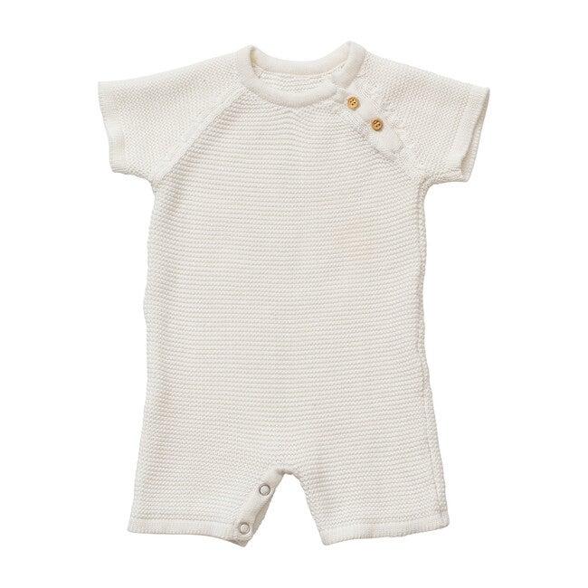 Organic Cotton Classic Knit Short Baby Romper, White