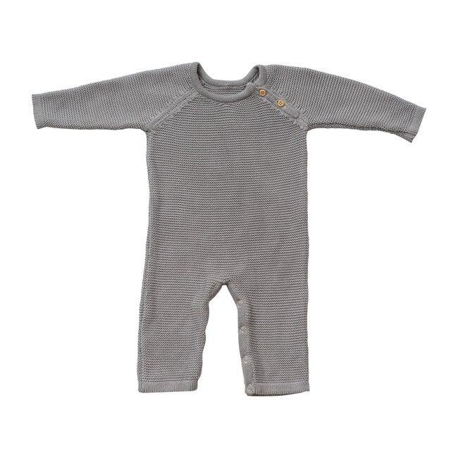 Organic Cotton Classic Knit Baby Romper, Gray