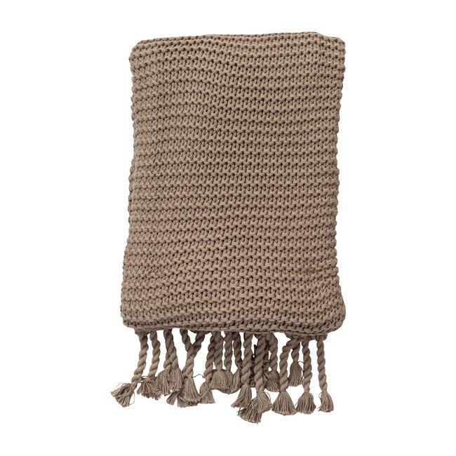 Organic Cotton Comfy Knit Throw, Stone