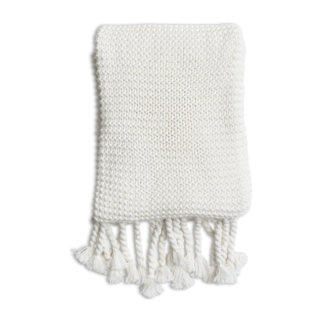 Organic Cotton Comfy Knit Throw, Soft White