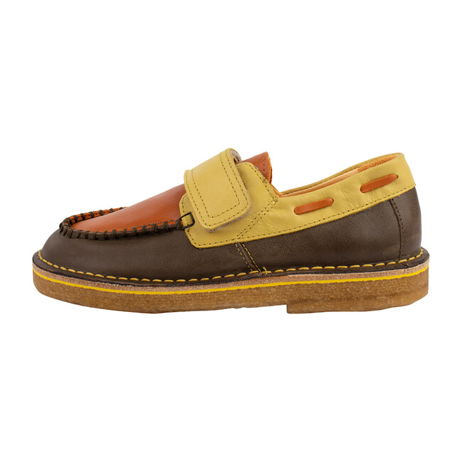 Khaki & Orange Strap Boat Shoe