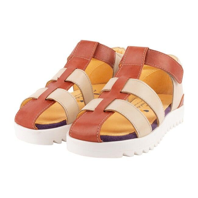 Cream & Coral Velcro Strap Sandal