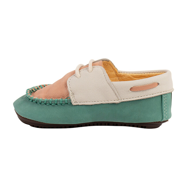 Aqua & Peach Boat Shoe