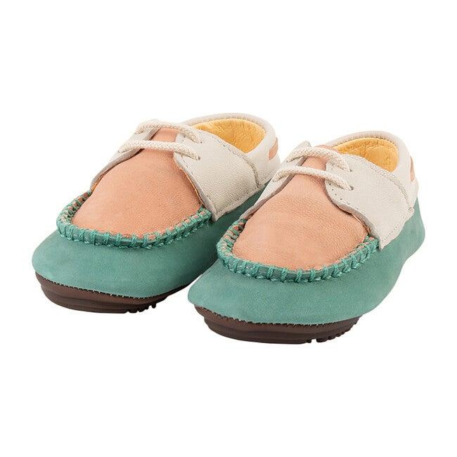 Aqua & Peach Boat Shoe