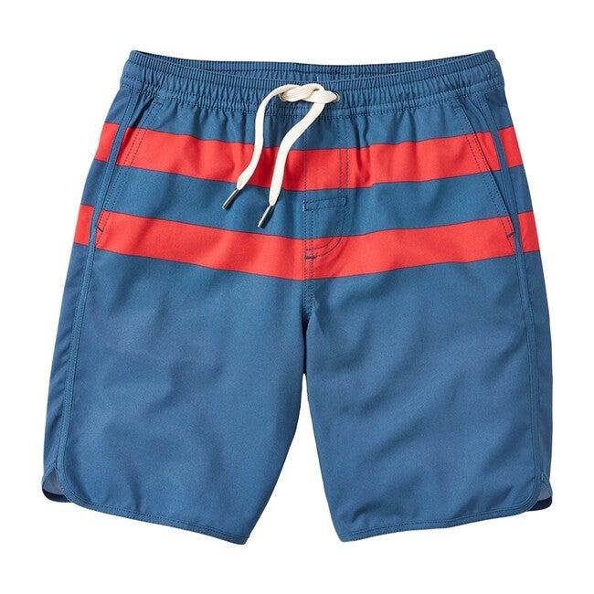 Kid's Anchor Swim Trunk, Red Stripe