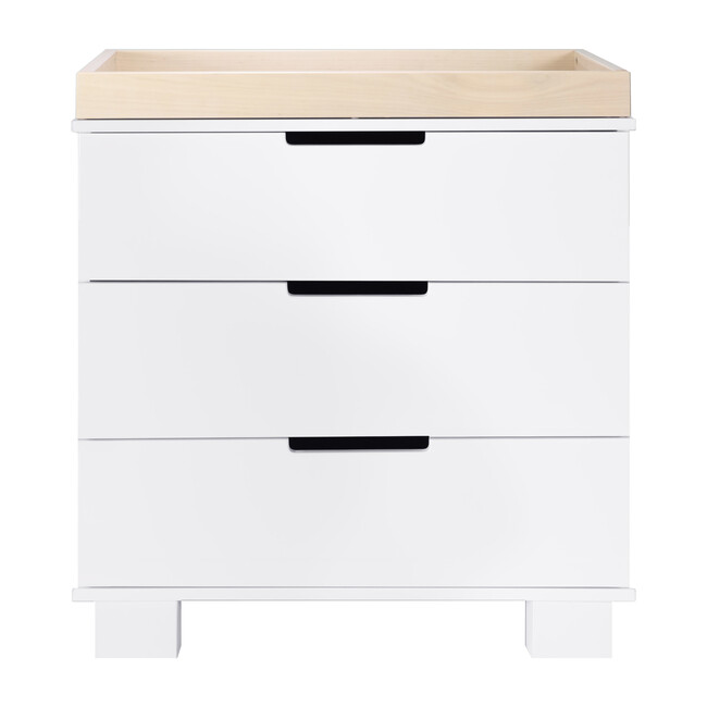 Modo 3-Drawer Changer Dresser with Removable Changing Tray, White/Washed Natural