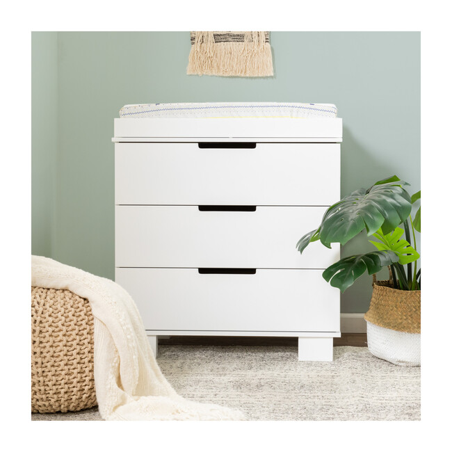 Modo 3-Drawer Changer Dresser with Removable Changing Tray, White