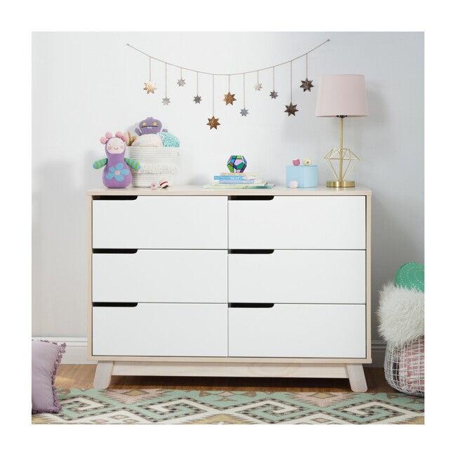 Hudson 6-Drawer Assembled Double Dresser, Washed Natural/White