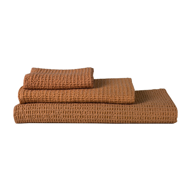 Set of 2 Simple Waffle Washcloths, Terracotta