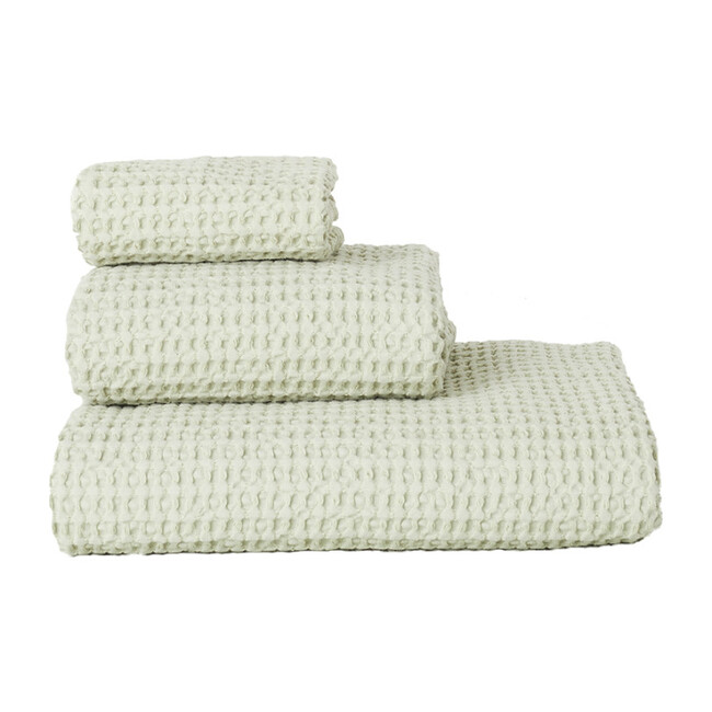 Set of 2 Simple Waffle Washcloths, Sage