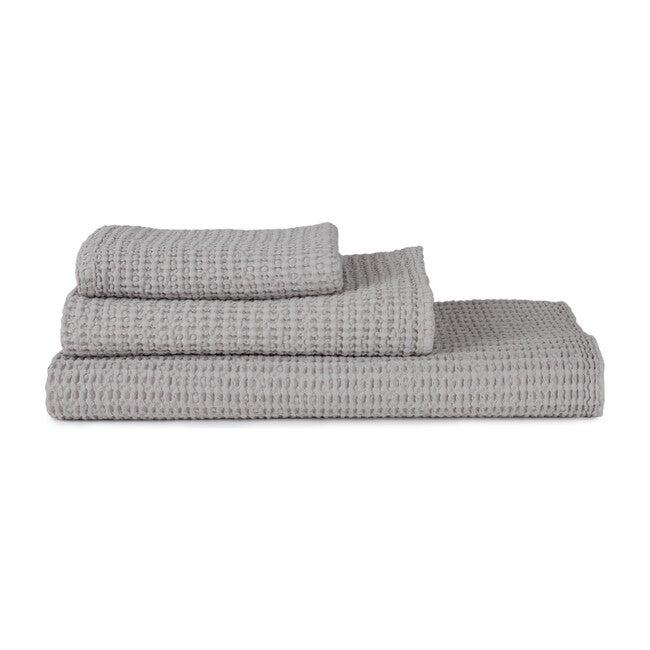 Set of 2 Simple Waffle Washcloths, Light Grey