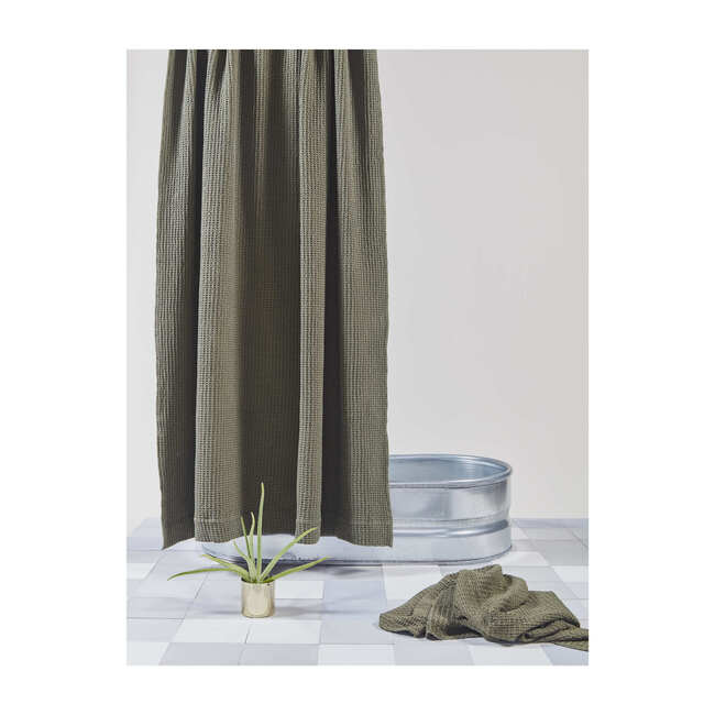 Simple Waffle Shower Curtain, Olive
