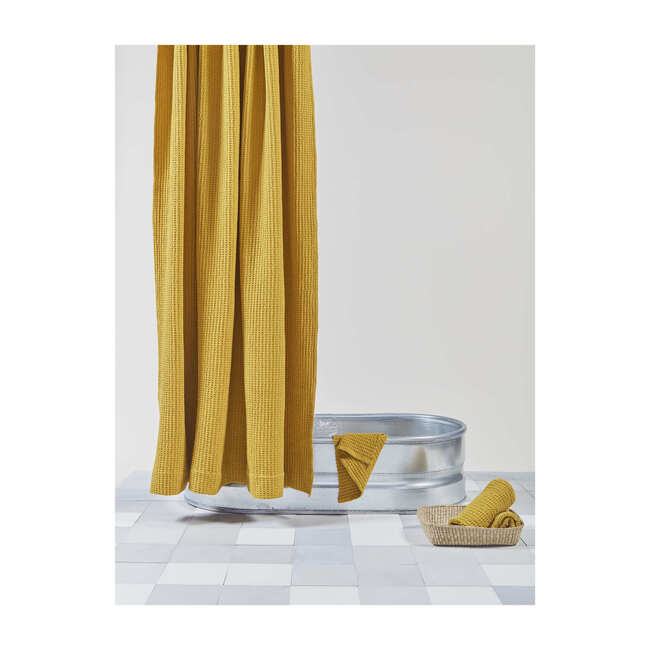 Simple Waffle Shower Curtain, Mustard