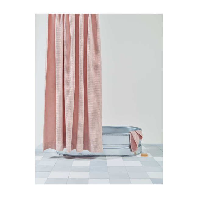 Simple Waffle Shower Curtain, Blush