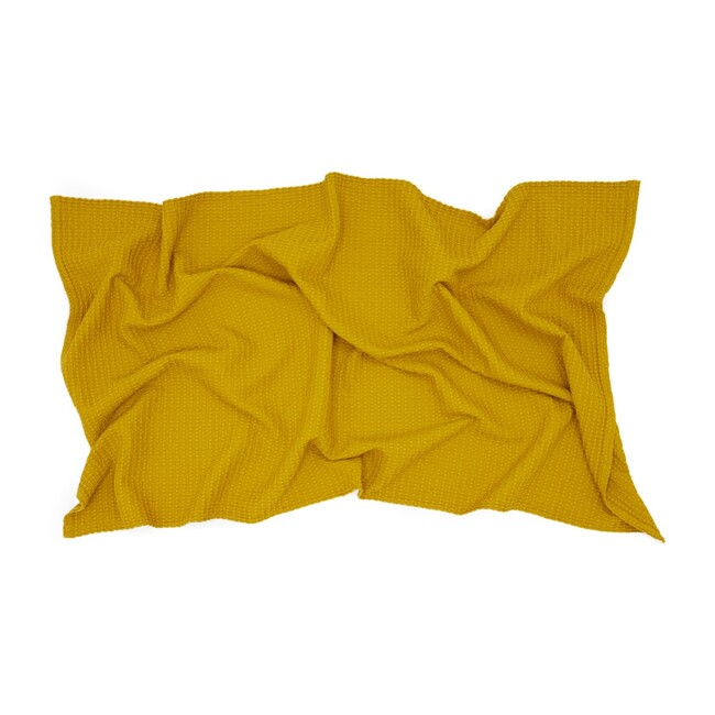 Simple Waffle Bath Towel, Mustard