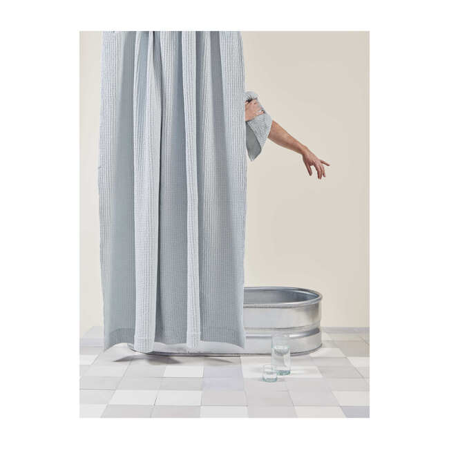 Simple Waffle Shower Curtain, Sky