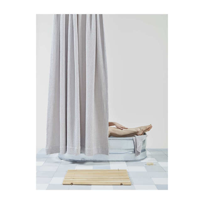 Simple Waffle Shower Curtain, Light Grey