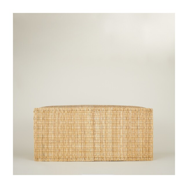 Woven Reed & Wood Bench, Natural