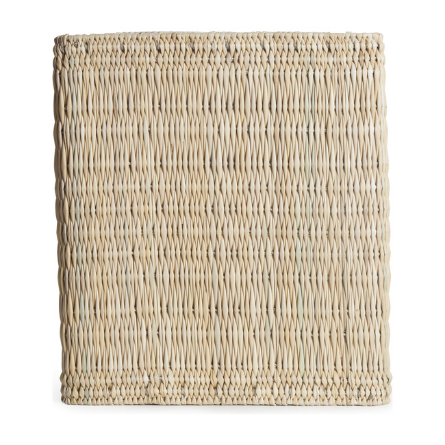 Woven Reed & Wood Pouf, Natural