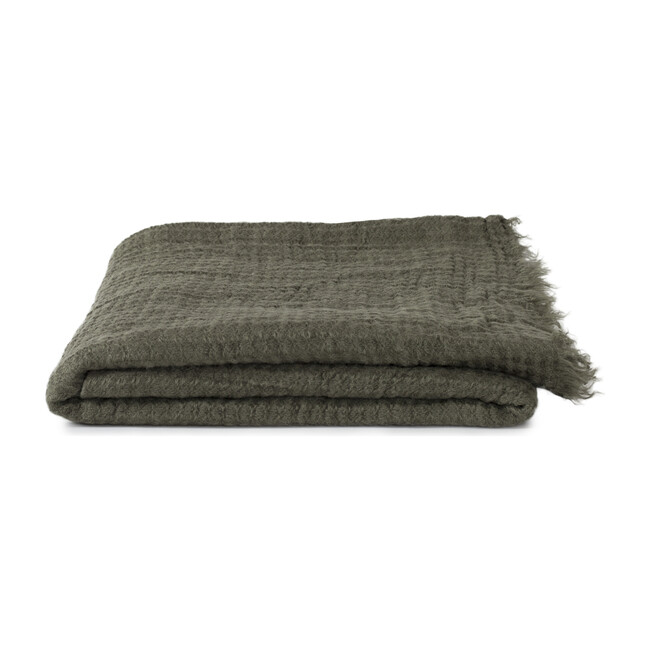 Simple Linen Throw, Olive
