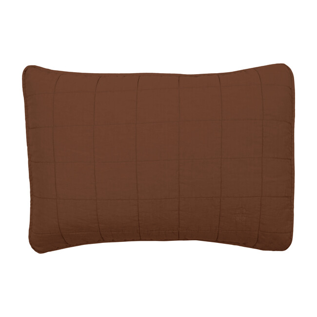 Set of 2 Simple Linen Quilted Shams, Terracotta